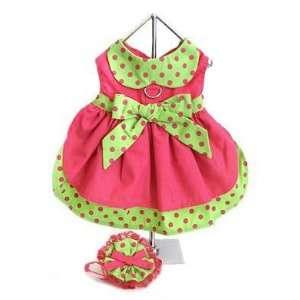 Hot Pink & Lime Green Polka Dot Dog Dress w/ Hat & Leash