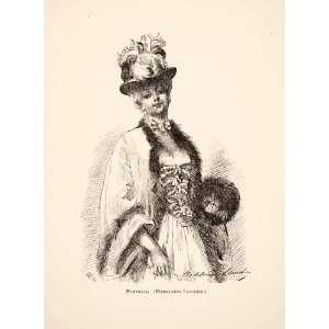 1883 Print Self Portrait French Artist Dress Corset Aristocrat