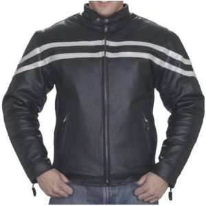 Mens Vented Leather Motorcycle Jacket with Silver Racing