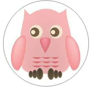 CUTE PINK OWL   1 Round Labels Seals/Stickers