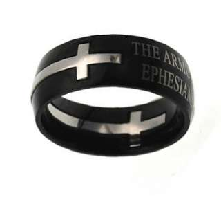 NEW Black Double Cross Armor of God Purity Ring