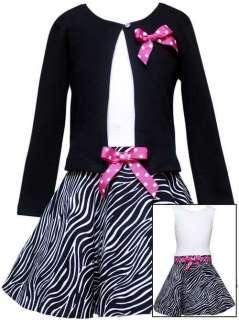 Rare Editions Pink Black Zebra Print Party Dress W/ Cardigan 5