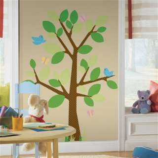 DOTTED TREE & BIRDS WALL DECOR STICKER DECAL MURAL