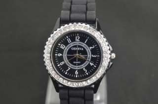 Girls Ladies Women Gift Black Fashion Silicone Crystal Quartz Wrist