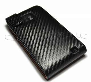 New Black Carbon fiber leather case for Samsung i9100 galaxy S2