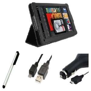 4IN1 Black Leather Case Cover with Stand+Stylus Pen+car charger+USB
