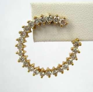 Vintage 2.0ct Large Diamond & 14K Yellow Gold Hoop Earrings