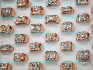 Wholesale jewelry lots 6style rose gold P crystal rhinestone men rings