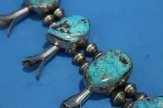 Large Handmade Native America Zuni Squash Blossom Sterling / Turquoise