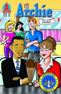 Archie #616. Barack Obama and Sarah Palin cover. Campaign Pains part 1
