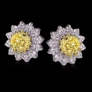 Yellow canary diamonds stud earrings gold ear ring new