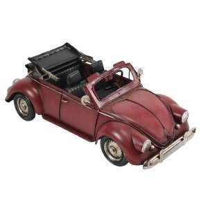Red Convertible CAR Tin Classic Antique Finish New Top