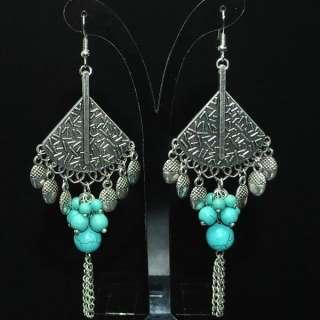 Vintage Tibetan Silver Blue Turquoise Earring w Box