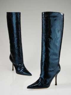 Jimmy Choo Blue Metallic Python High Boots 8/38.5