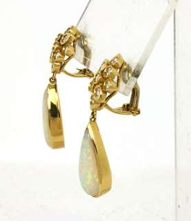 STERN SIGNED 18K GOLD, DIAMONDS & OPAL EARRINGS