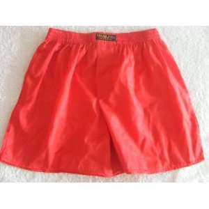 Silk Boxer Shorts  Scarlet Red  Solid Color/No Design (SIZE XXL 34 36