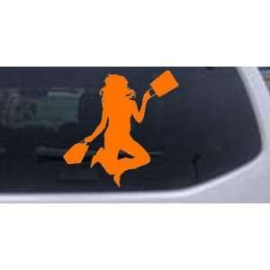 Happy Jumping Girl Shopping Silhouettes Car Window Wall Laptop Decal