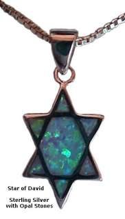 Silver Star of David Necklace with Opals with 18 Sterling Silver