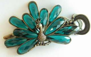 COLORS SWAROVSKI CRYSTAL BIG PEACOCK HAIR BARRETTE CLIP 1445