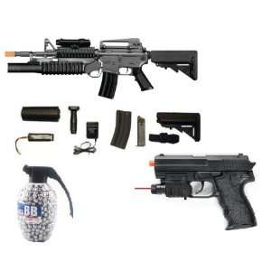 M4 AEG Electric Airsoft Rifle, M203 Grenade Launcher, 2 Stocks, FPS