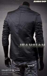 3mu Mens Designer Slim Fit Jacket Blazer Coat Shirt Stylish 3 Colors S