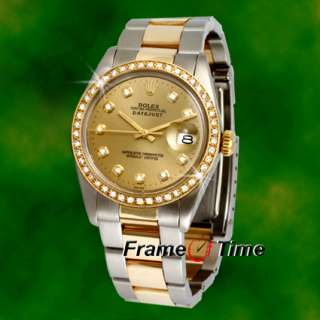 Rolex Datejust Mens Oyster 18K/SS Gold & Steel Two Tone Pave Diamond