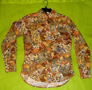 70s JM BROWNS autumn leaves MEN DISCO ERA NIK NIK shirt RETRO