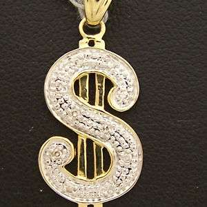 14K Yellow & White Gold $ Dollar Sign Necklace Diamonds