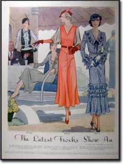 this is an original 1932 two sided magazine art deco fashion print