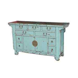 60 Wide Chinese Sideboard 2 Door 9 Drawer W Marble Aqua color Zhang