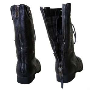 Army Chic Distressed Lace up Combat Varied Shaft Boots Black w/ Plaid