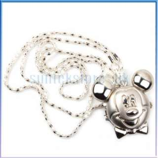 Silver Pocket Disney Mickey Mouse Necklace Watch Gift