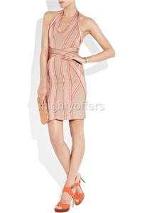 Beige Red Halter Bodycon Bandage Dress XXS XS S M L
