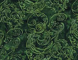 Quilt Quilting Fabric Hoffman Batik 2268 Green Swirl Dark Light Cotton