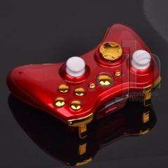 MODDED XBOX 360 RED AND CHROME GOLD WIRELESS CONTROLLER SHELL CASE MOD