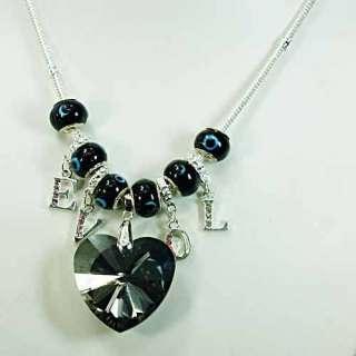 p5003 Ladys Black Crystal Heart Lampwork Glass Beads Pendant Snake
