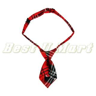 Red Grid Pet Dog Cat Handsome Bow Tie Necktie Collar 25cm 40cm