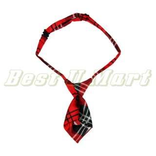Red Grid Pet Dog Cat Handsome Bow Tie Necktie Collar 25cm 40cm