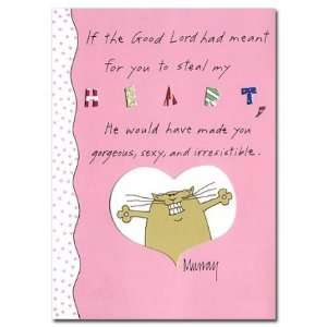 Cartoon Cat Heart Stealer Valentine Card Health