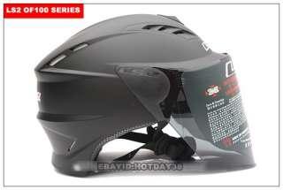 Motorcycle Helmet Open Half Face Flip Up Visor Matt BLK