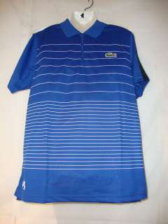 Lacoste SS Super Dry Striped Polo  Large  Blue/White/Black