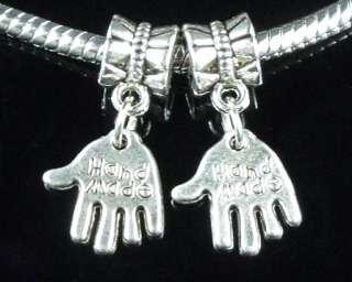10xTibetan Silver Hand Dangle Charm Beads Fit Bracelet ZY77