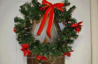 Pre Lit Christmas Wreath Holiday Fiber Optic Mulit color Fiber Optic