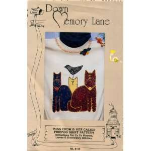Miss Crow and Her Calico Friends Cat Shirt Pattern Applique Embroidery