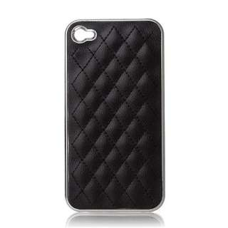 1x Deluxe Leather Chrome Case Cover for iPhone 4 4G 4S BLACK