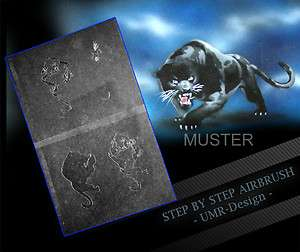 Airbrush Stencil Template 4 Steps AS 012 M Size 5,11 x 3,95