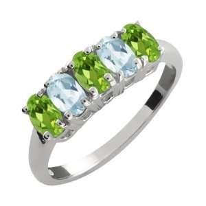 Green Peridot and Sky Blue Aquamarine Sterling Silver Ring Jewelry