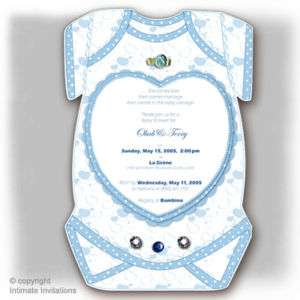12 Heart DieCut Boy BABY SHOWER INVITATIONs Onesie BL