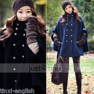 Women Ladies Princess Wool Double Breasted Poncho Cape Jacket Mantle