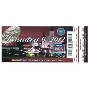 Alabama Crimson Tide 2012 BCS National Championship Souvenir Ticket